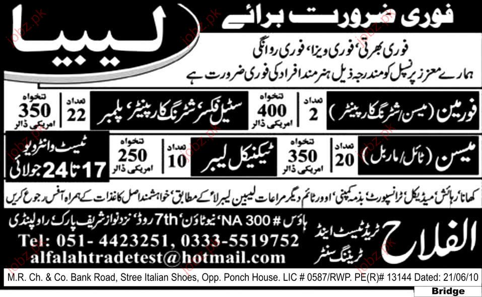 Steel Fixer, Suturing Car Painter, Plumber, Foreman jobs