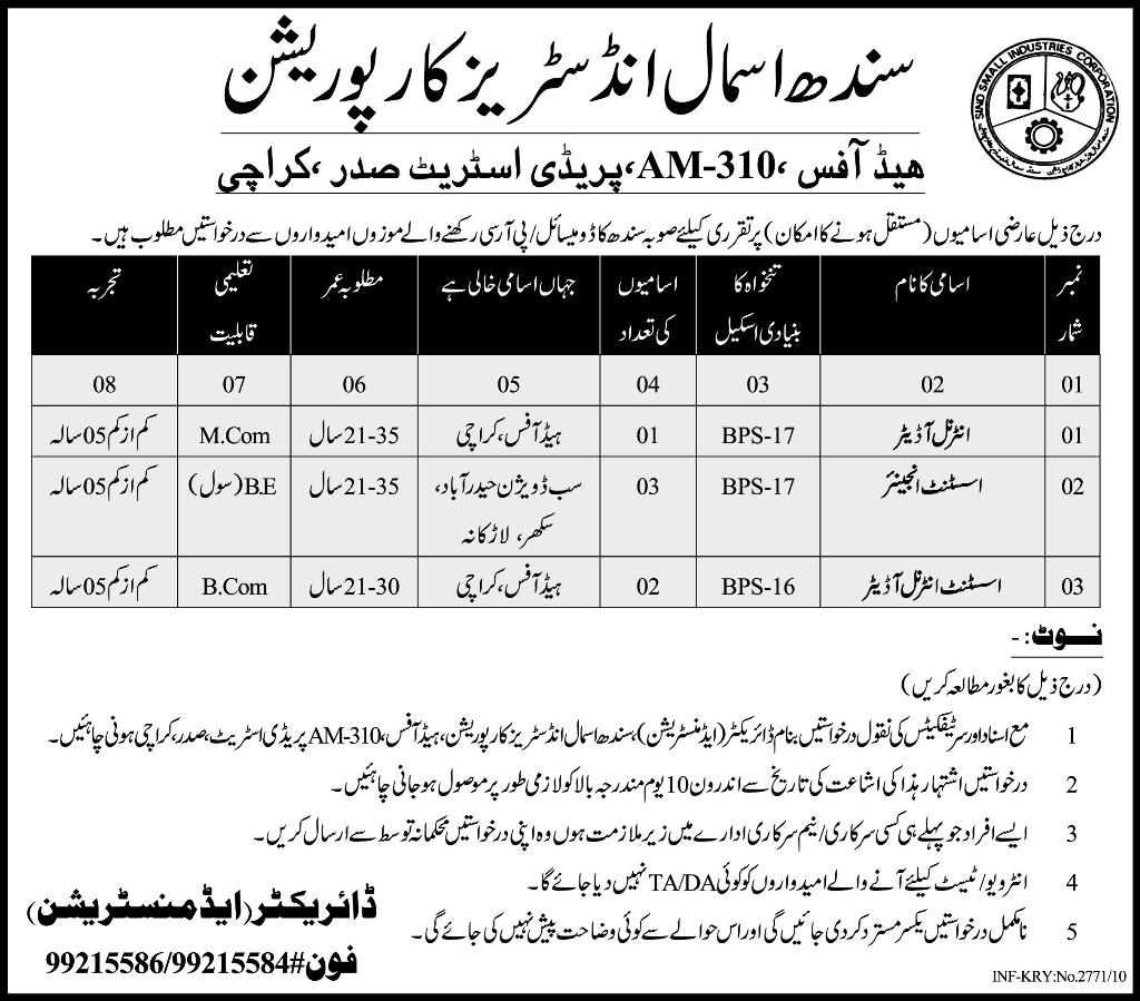Sindh Small Industries Corporation Karachi Job Opportunities