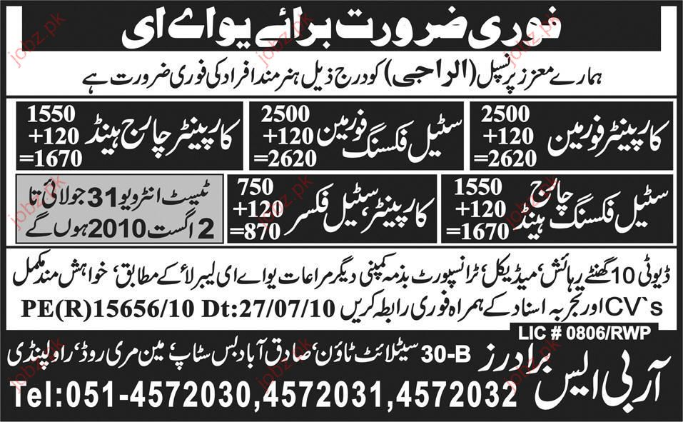 Car Painter Foreman, Steel Fixer and Charge Hand required