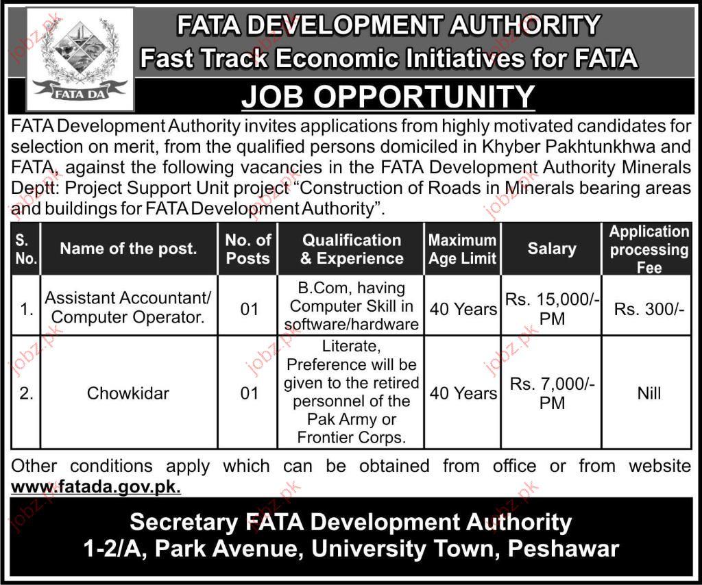 Fata Development Authority Peshawar Job Opportunities 2019