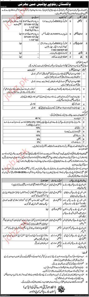 Job Opportunities in Pakistan Railway Police Lahore