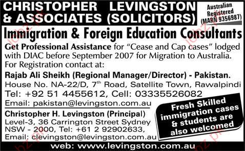 Immigration & Foreign Education Consultants required