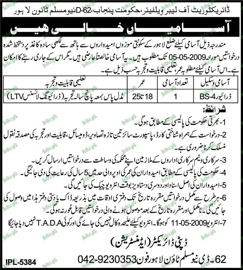 Directorate of Labour Welfare Jobs