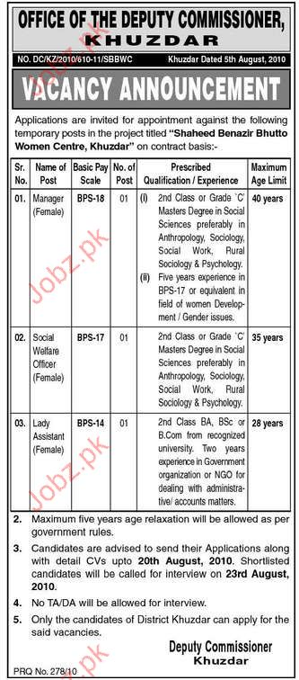 Manager, Social Welfare Officer, Lady Assistant Vacancy