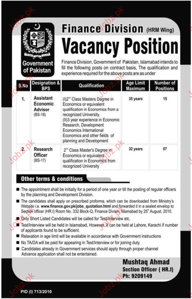 Job Opportunities in Ministry Of Finance Islamabad