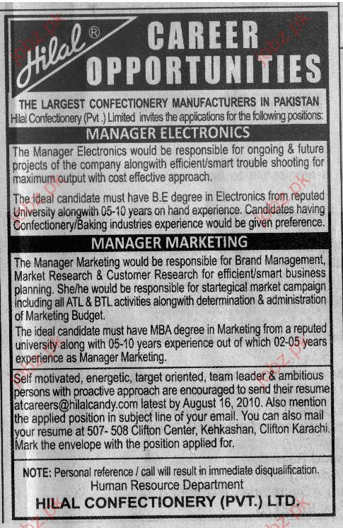 Manager Electronics and Marketing Job Opportunities