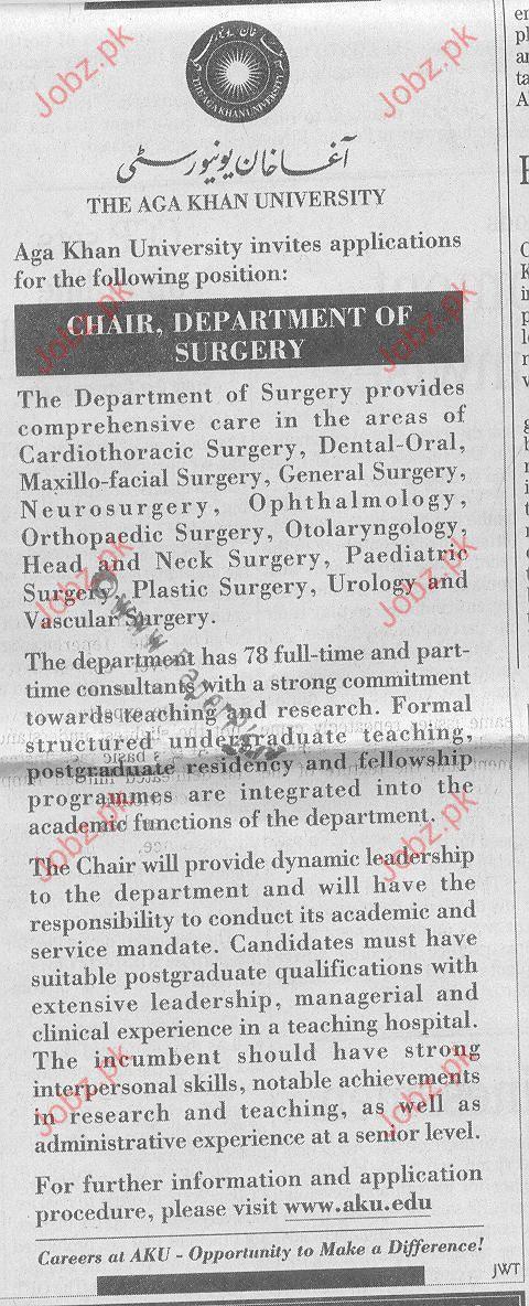 Job Opportunities In Agha Khan University Karachi