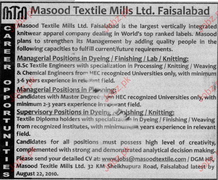 Job Opportunities in Masood Textile Mills Ltd. Faisalabad