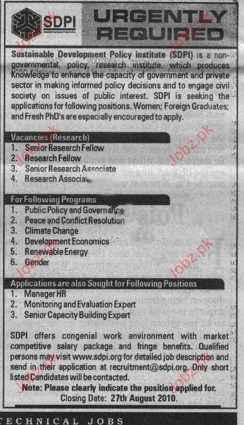 Senior Research Fellow, Research Associate, Manager HR jobs