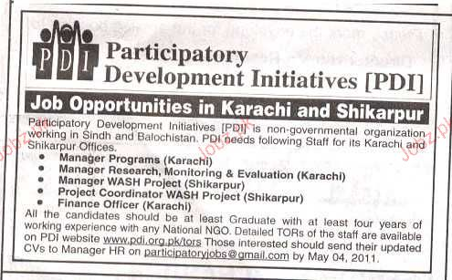 Manager Programs, Manager Research Job Opportunity