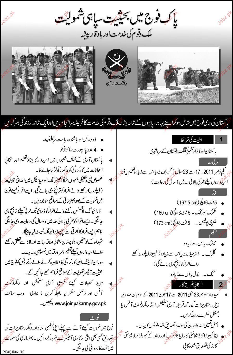 Recruitment In Pak Army 2019 Job Advertisement Pakistan