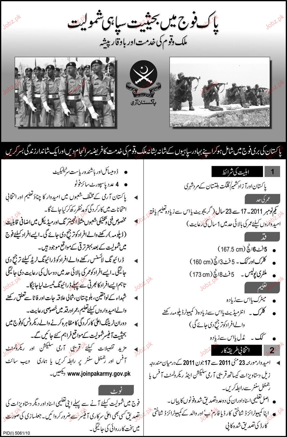 recruitment in pak army 2019 job advertisement pakistan