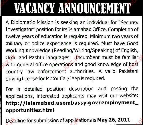 Security Investigators Job Opportunity