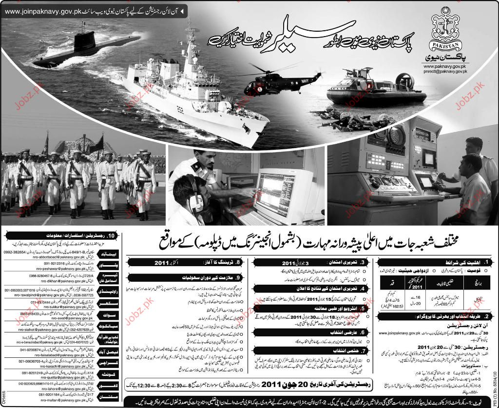 Sailors Recruitment in Pak Navy