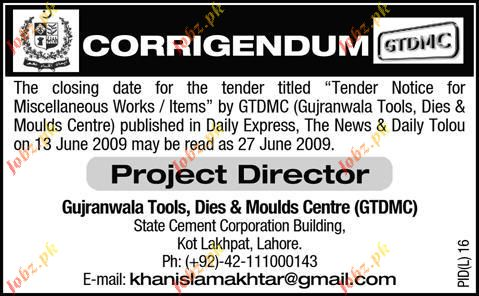 Gujranwala Tool, Dies & Moulds Centre Staff Wanted
