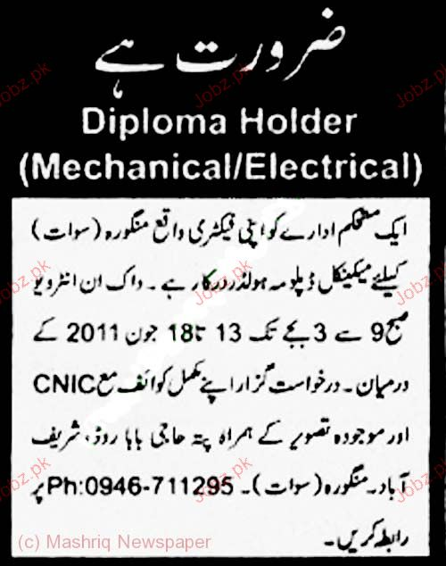 Mechanical Diploma Holder Job Opportunity