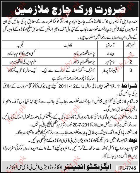 Baildar, Imam Masjid and Computer Operator Vacancy
