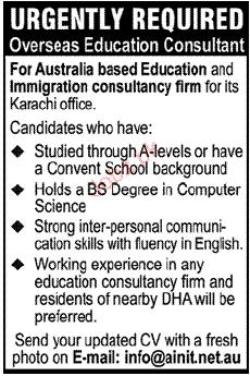 Overseas Education Consultant Job Opportunity 2019 Job Advertisement