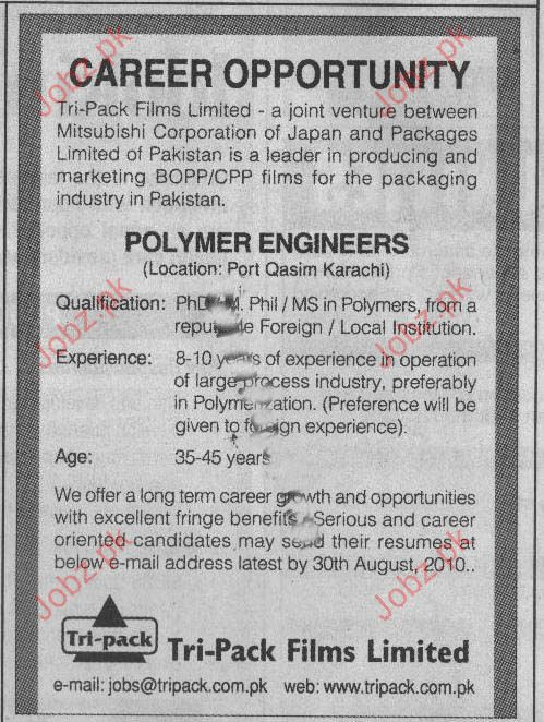 polymer engineer job opportunity in tri pack films limited - Polymer Engineer Sample Resume