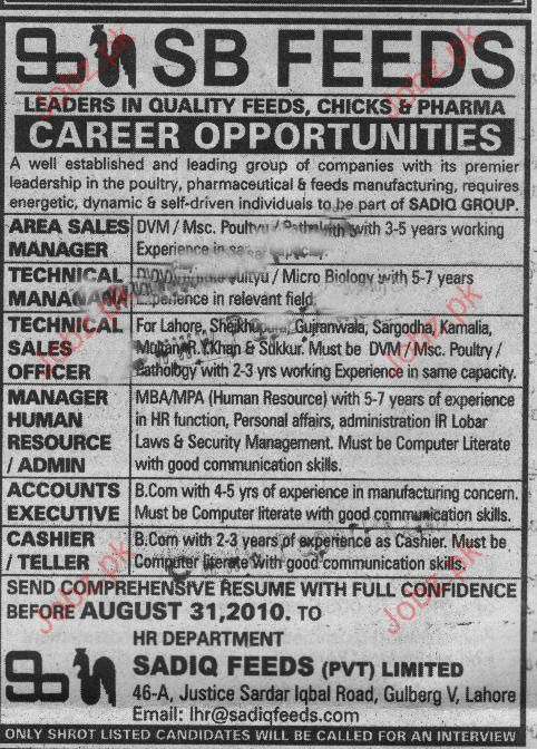 Area Sales Manager, Technical Sales Officer Job Opportunity