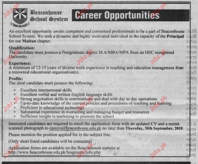 Job Opportunities For Principal In Beaconhouse School