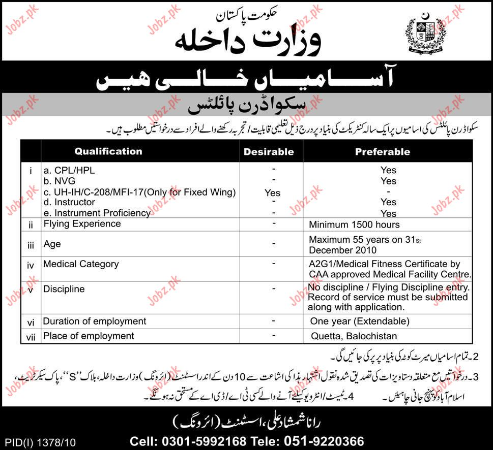 Scared Pilot Vacancy in Ministry of Interior Pakistan