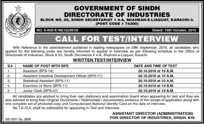 Statistical Assistant, Examiner of Store, Assistant Vacancy 2018 ...