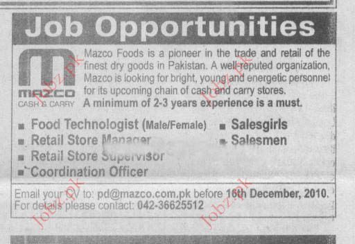 Food Technologist, Retail Store Manager, Sales Girls jobs