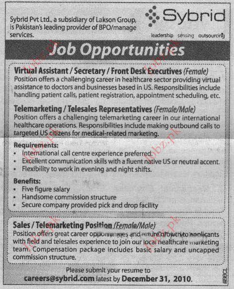 Virtual Assistant / Secretary/ Front Desk Executives jobs