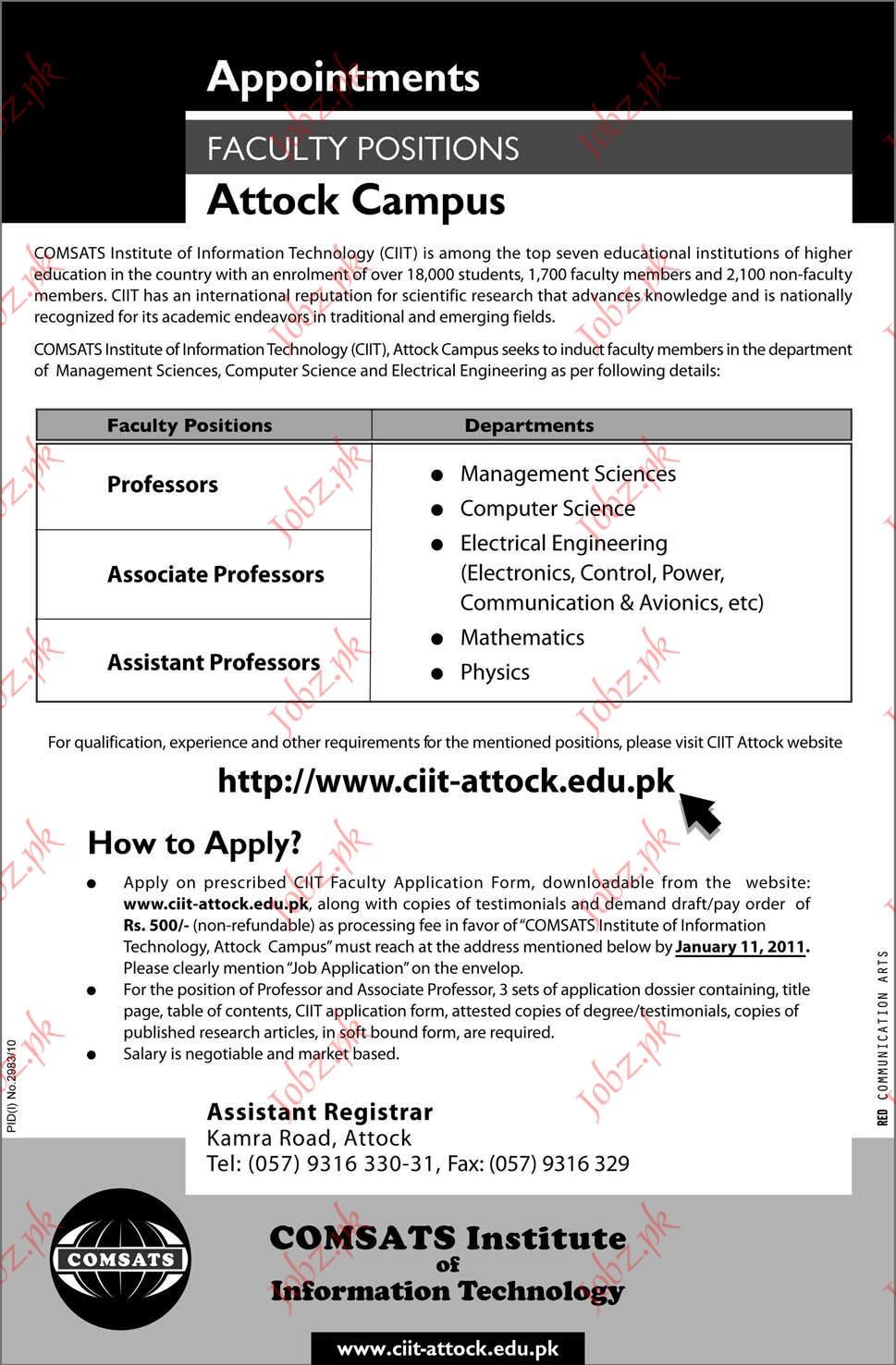 Professor, Associate Professor and Assistant Professor jobs