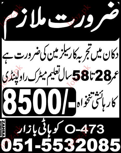 Sales Man and Home Worker job Opportunity