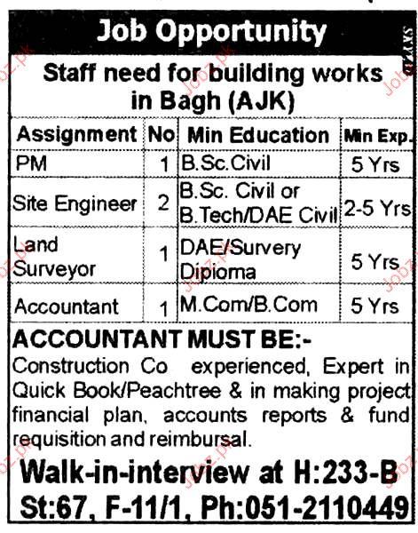 SITE Engineer, Land Surveyor, Accountant Job Opportunity