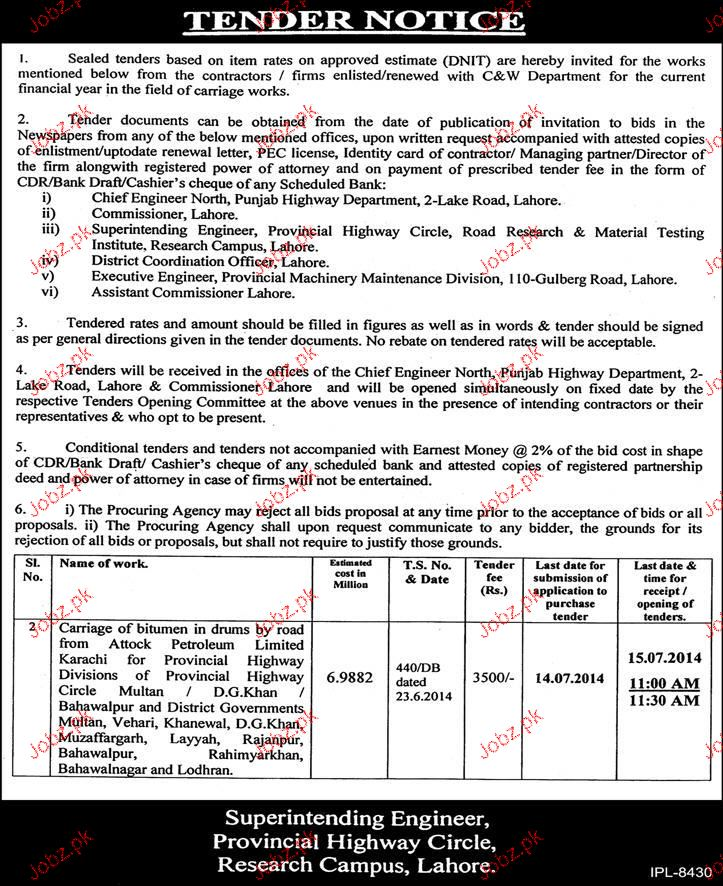 Tender Invited For Carriage Works 2019 Government tenders