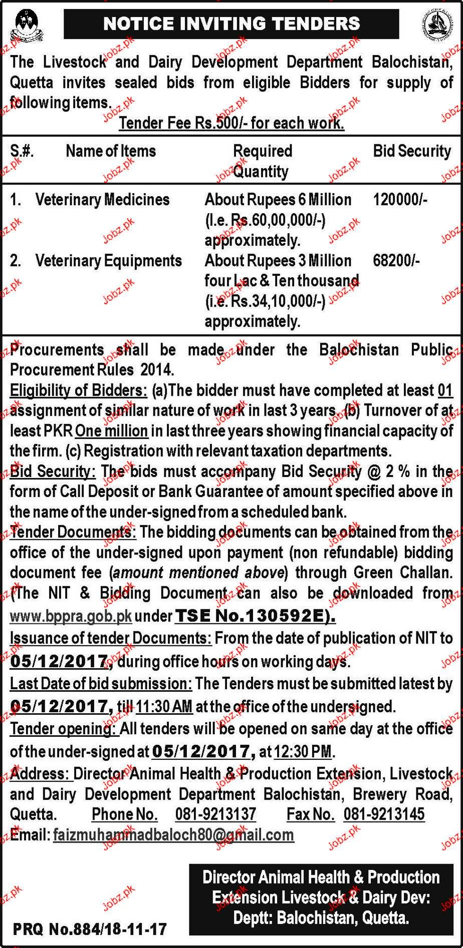 Livestock and Dairy Development Department Tender 2019 Government