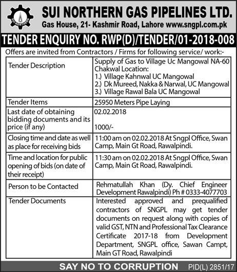 Sui Northern Gas Pipelines Limited Tender 2019 Government tenders