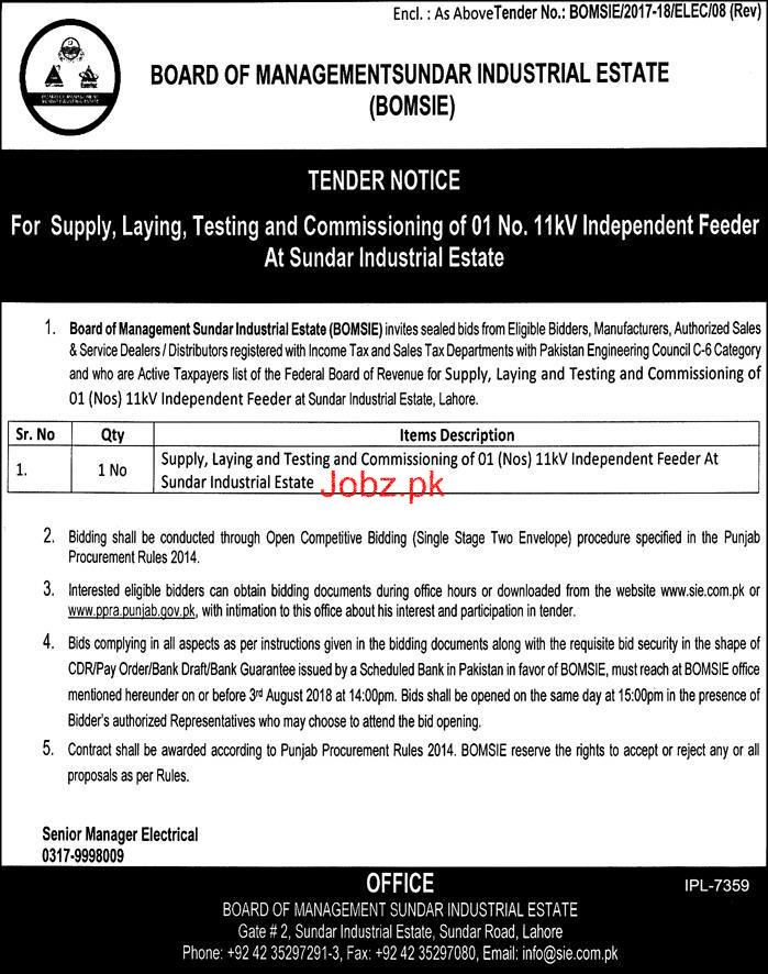 Board of Management Sundar Industrial Estate BOMSIE Tender 2019