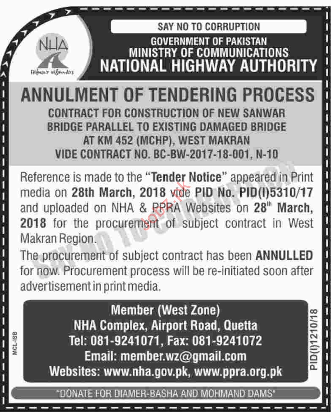 NHA Quetta Tender for Construction of New Bridge 2019
