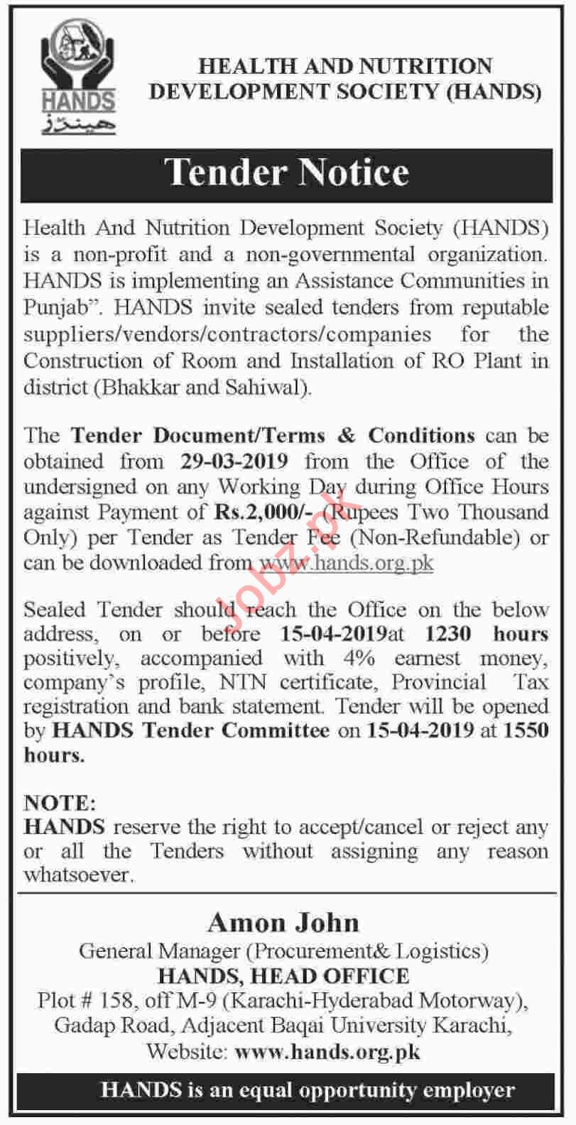 HANDS NGO Tender for Construction Works 2019 Private tenders Health