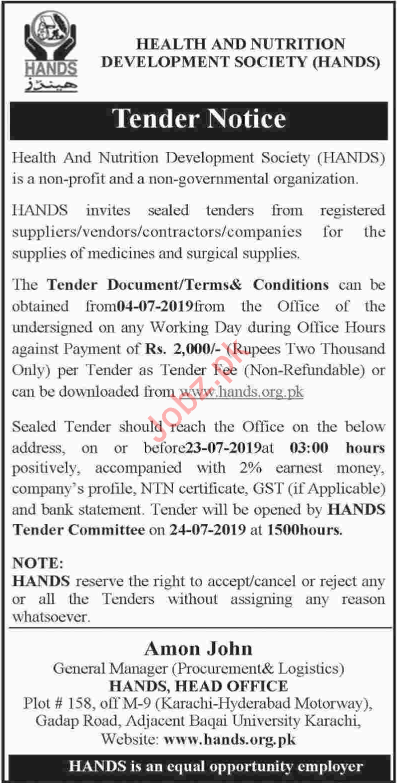HANDS NGO Tender Notice 2019 Private tenders Health and Nutrition