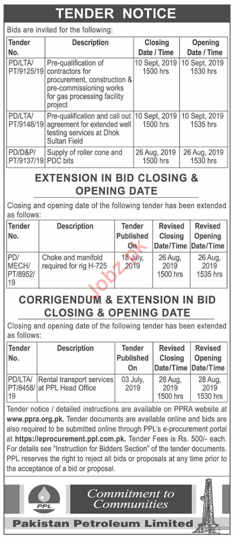 Pakistan Petroleum PPL Tender for Rental Transport Service 2019