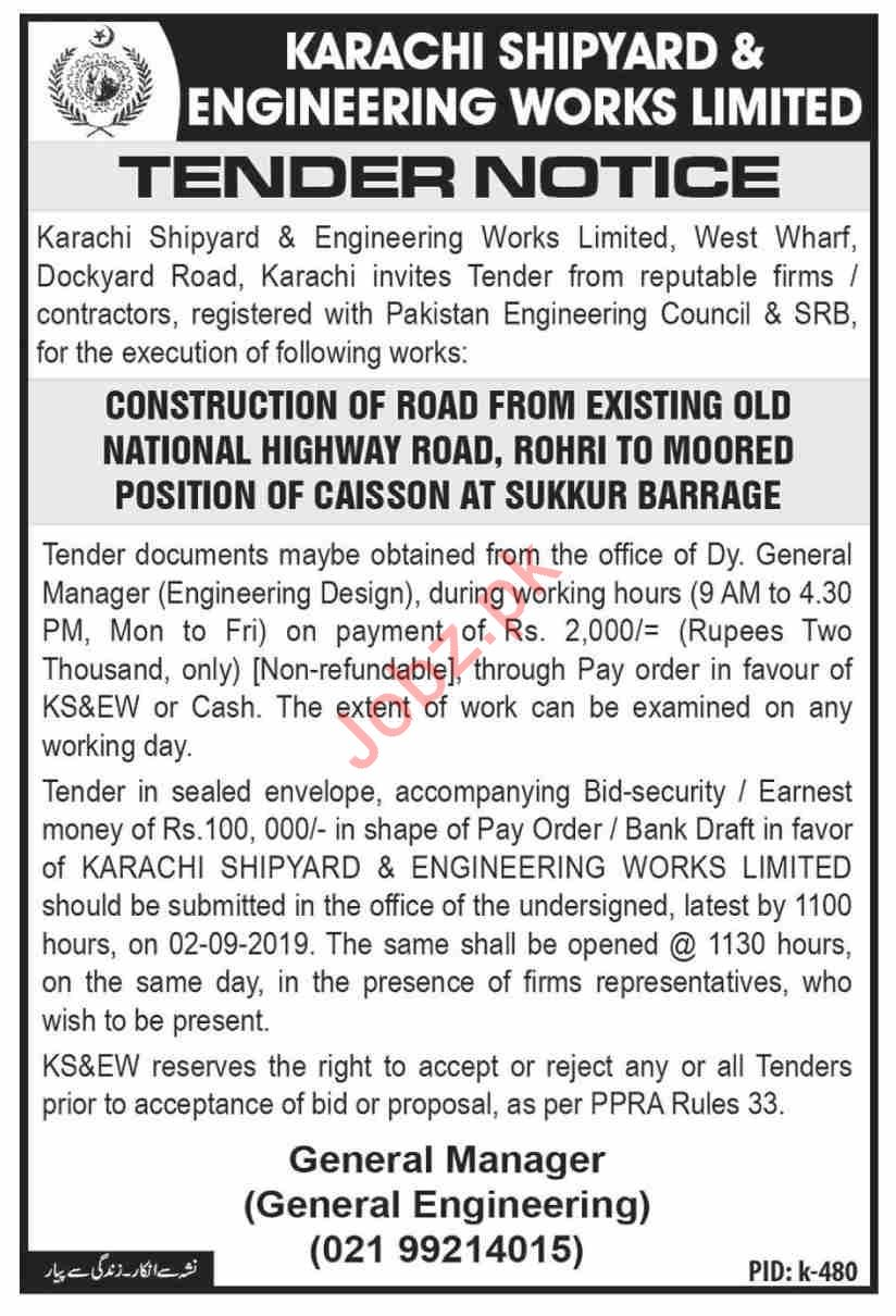 Karachi Shipyard Tender for Construction of Road 2019 Government