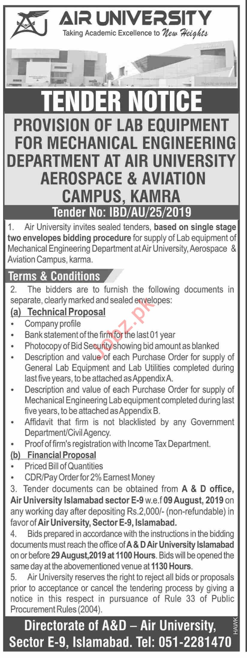 Air University Tender Provision of Lab Equipment 2019 Government