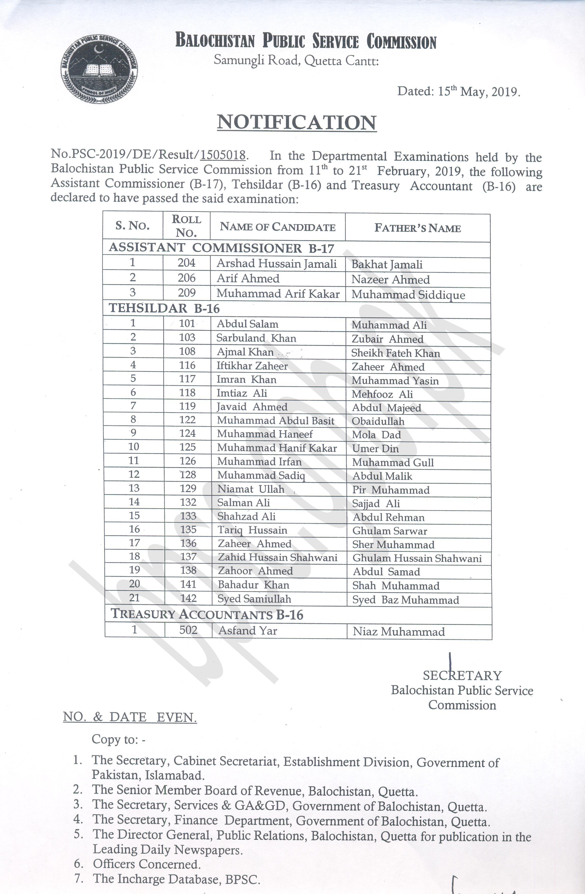 BPSC Departmental Examination Test Result 2019 Quetta BPSC