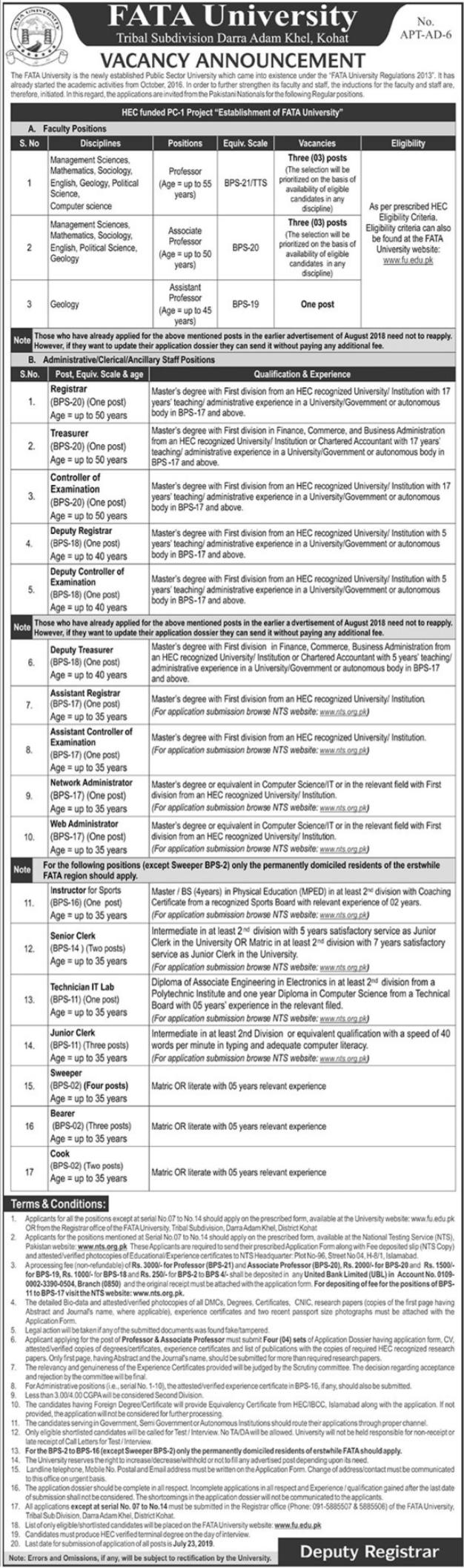 NTS FATA University Jobs Application Form 2019