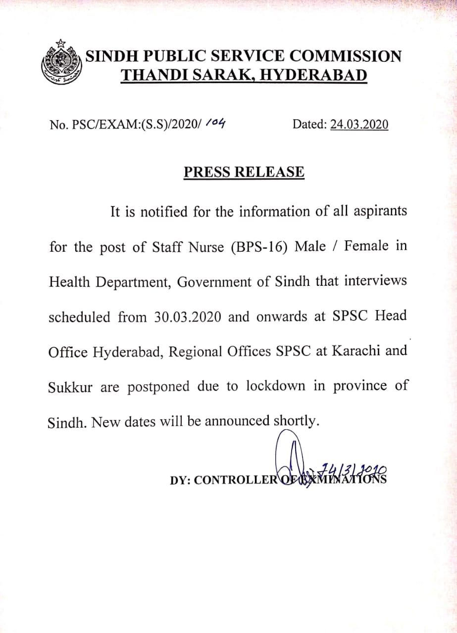 Health Department Sindh Staff Nurse SPSC Interview Postponed