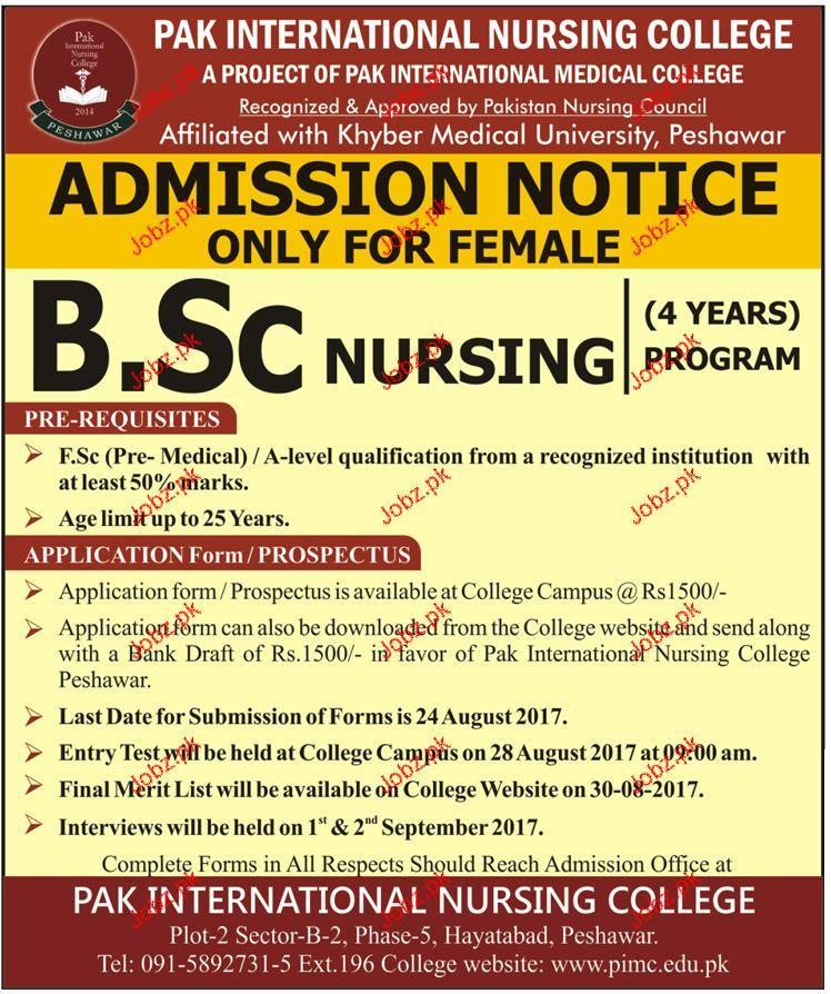 Pak International Nursing College Admission in BSc 2021 ...