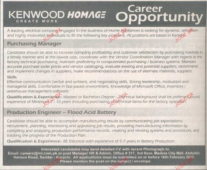 Purchasing Manager and Production Engineer Job Opportunity