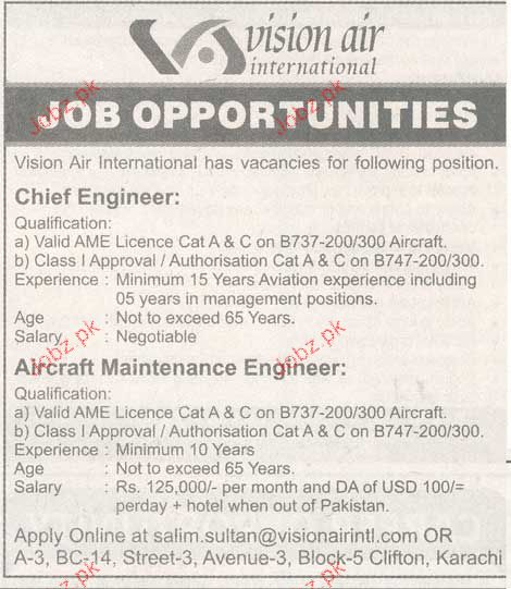 Chief Engineers and Aircraft Maintenance Engineers Wanted
