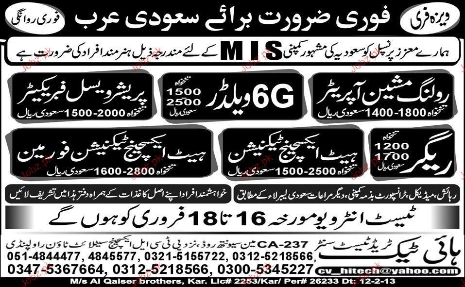 Roling Machine Operators, 6G Welders Job Opportunity