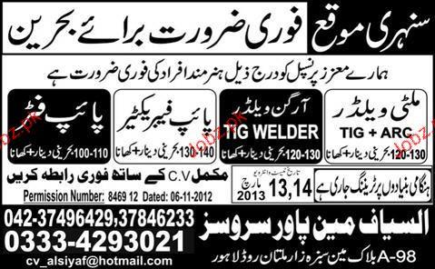 Multi Welders, Pipe Fitters, Argon Welders Job Opportunity